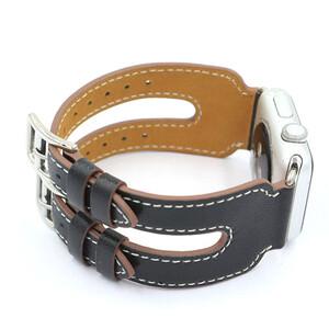 Купить Кожаный ремешок Double Buckle Black для Apple Watch 38mm Series 1/2
