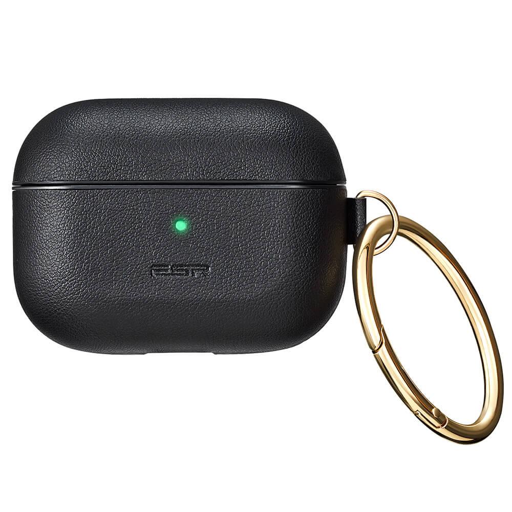 Купить Кожаный чехол с карабином ESR Metro Light Series Black для AirPods Pro