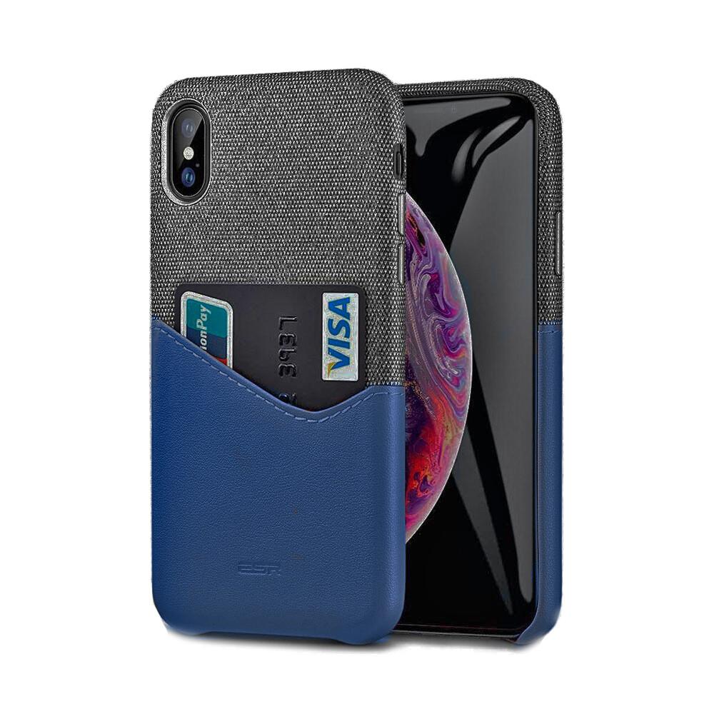 Кожаный чехол с отделением для карт ESR Metro Series Blue для iPhone XS Max