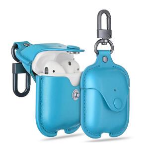 Купить Кожаный чехол с карабином ESR Oxford Leather Blue для Apple AirPods