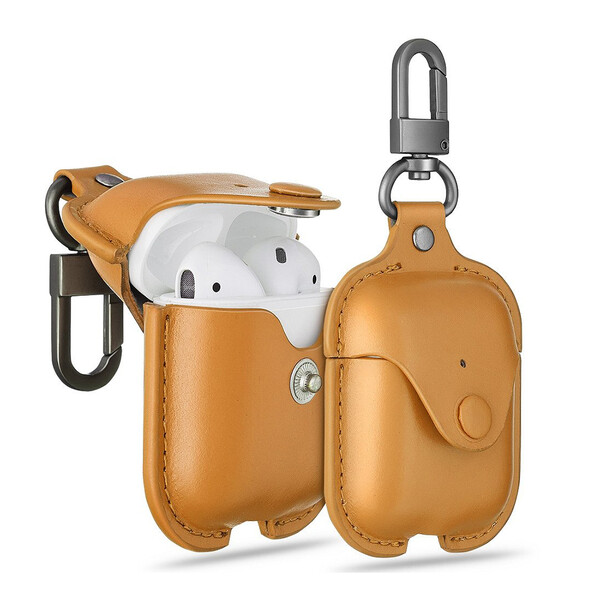 Кожаный чехол с карабином ESR Oxford Leather Brown для Apple AirPods