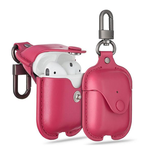 Кожаный чехол с карабином ESR Oxford Leather Pink для Apple AirPods