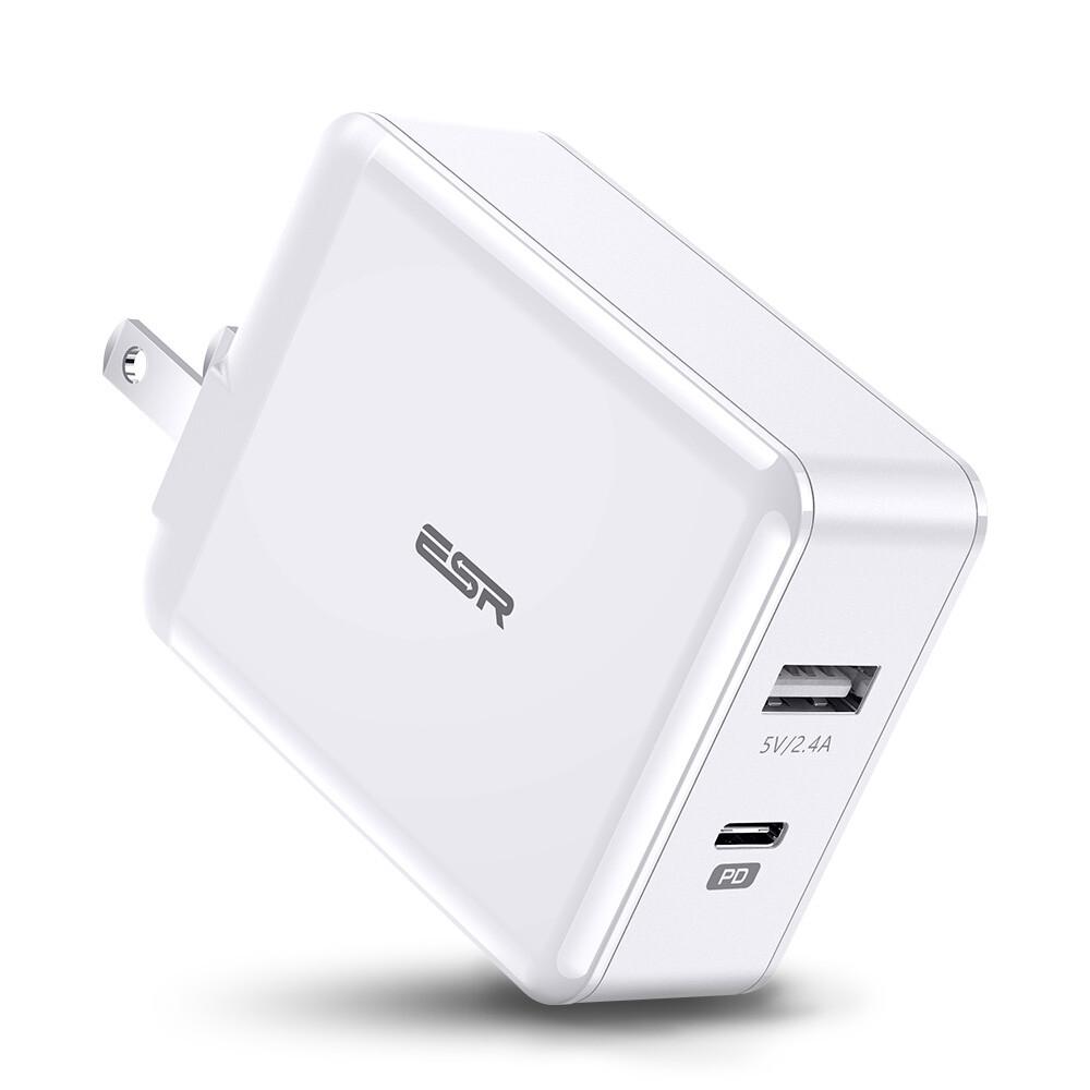 Быстрое зарядное устройство ESR PD Charger 30W USB-C + USB (Евро)