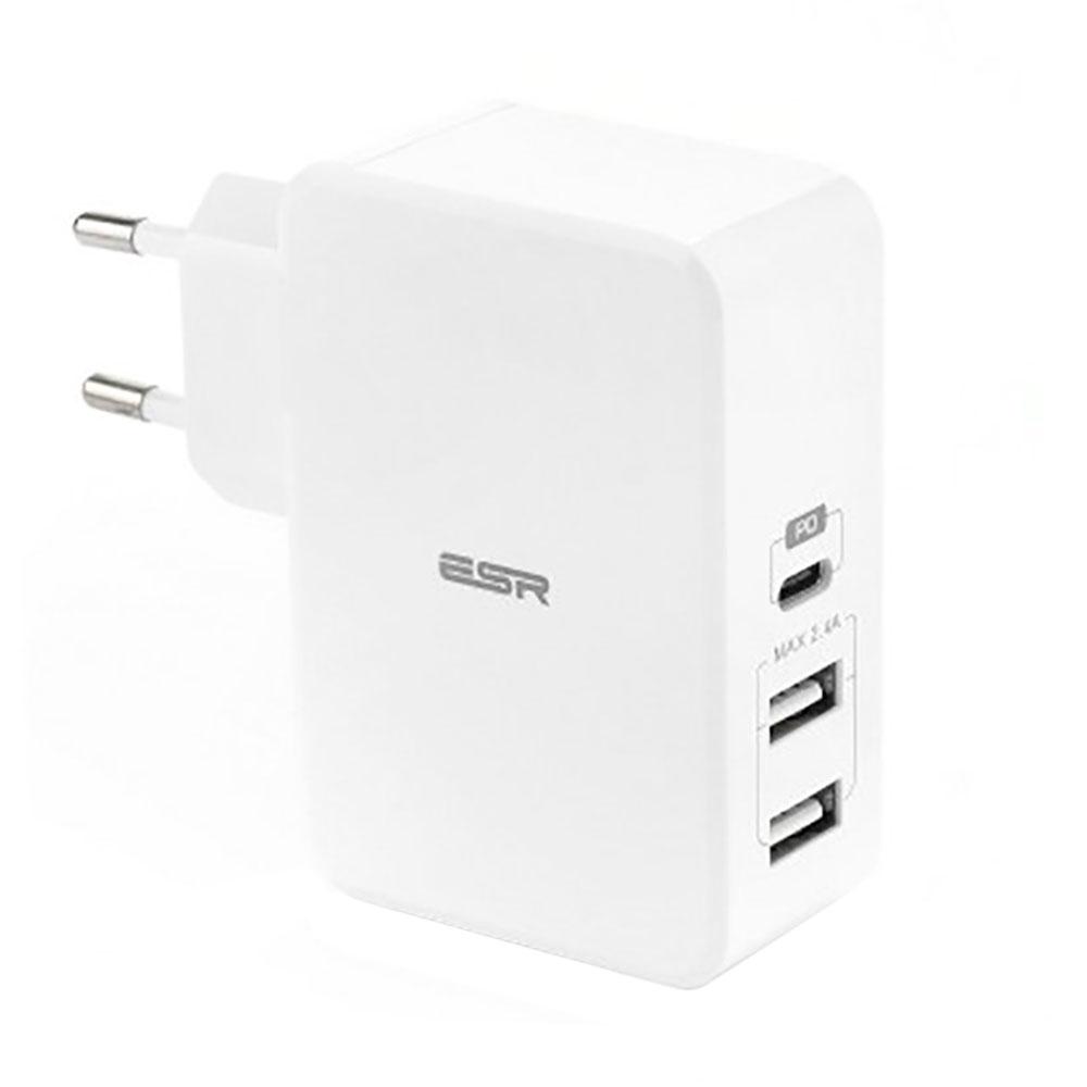 Купить Быстрое сетевое зарядное устройство ESR USB Type-C PD + 2 USB Wall Charger White (EU)