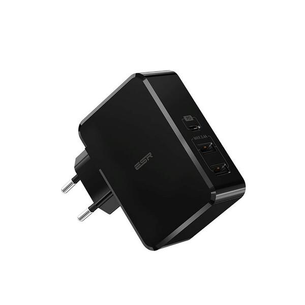 Быстрое сетевое зарядное устройство ESR USB Type-C PD + 2 USB Wall Charger Black (EU)