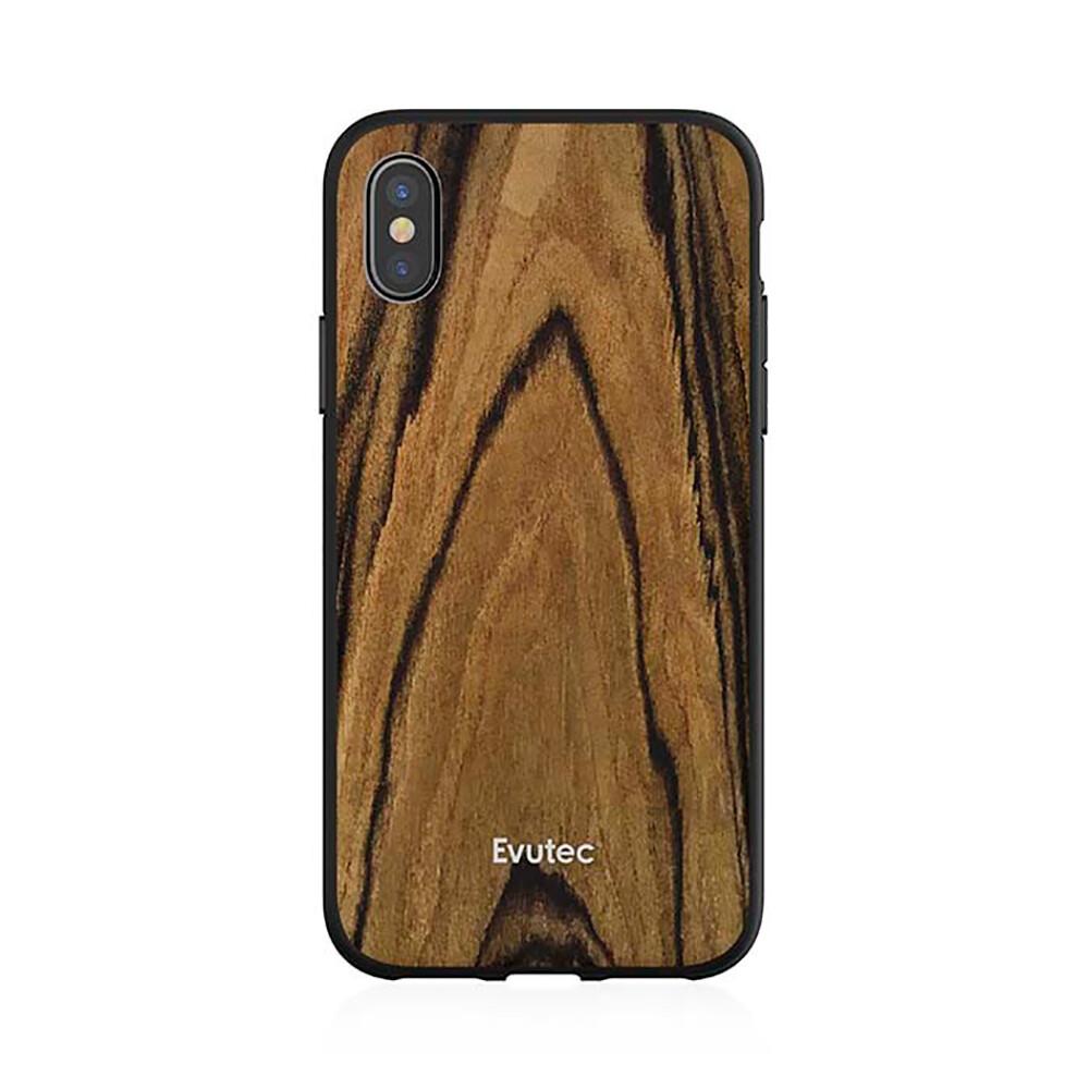 Противоударный чехол Evutec AER Series Wood Burmese Rosewood для iPhone X/XS с магнитным автодержателем