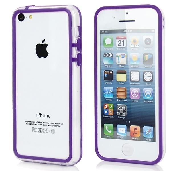 Прозрачный фиолетовый бампер для iPhone 5C