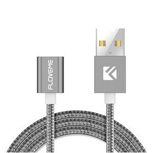 Купить Нейлоновый магнитный кабель Floveme 2-in-1 Magnetic Cable Gray Lightning/Micro USB to USB 1m