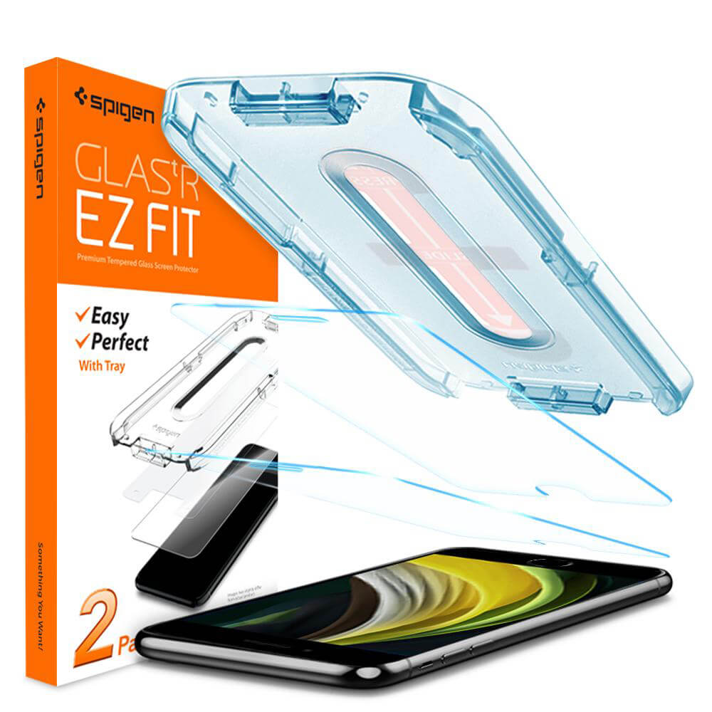 Купить Защитное стекло Spigen GLAS.tR SLIM EZ FIT для iPhone 7 | 8 | SE (2020) (2 стекла + рамка для поклейки)