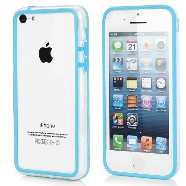 Прозрачный голубой бампер для iPhone 5C