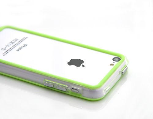 Прозрачный салатовый бампер для iPhone 5C