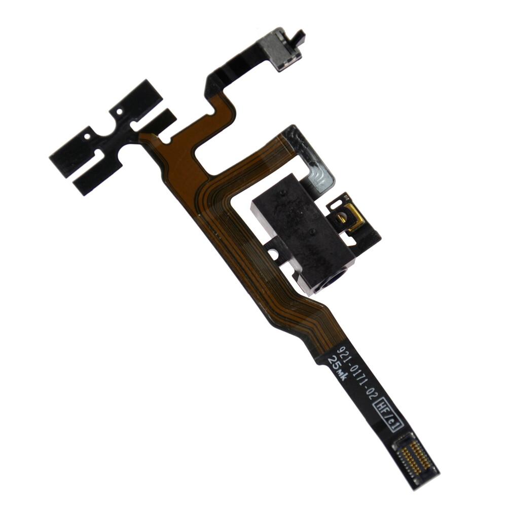 Купить Шлейф с разъемом зарядки + разъем аудио (Black) для iPhone 4S