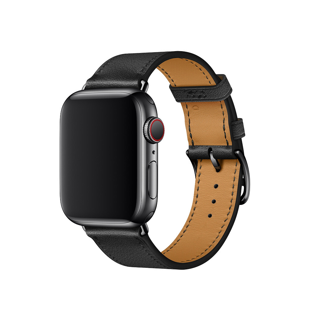 Ремешок iLoungeMax Hermes Black для Apple Watch 40mm   38mm SE   6   5   4   3   2   1 OEM