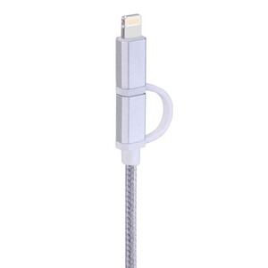 Купить Кабель HOCO UPF02 2-in-1 Micro USB + Lightning to USB Silver