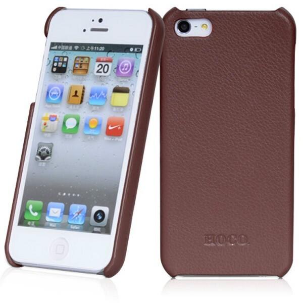 Коричневая кожаная накладка HOCO Fashion для iPhone 5/5S/SE