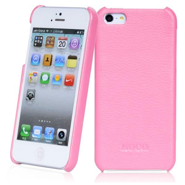 Розовая кожаная накладка HOCO Fashion для iPhone 5/5S/SE