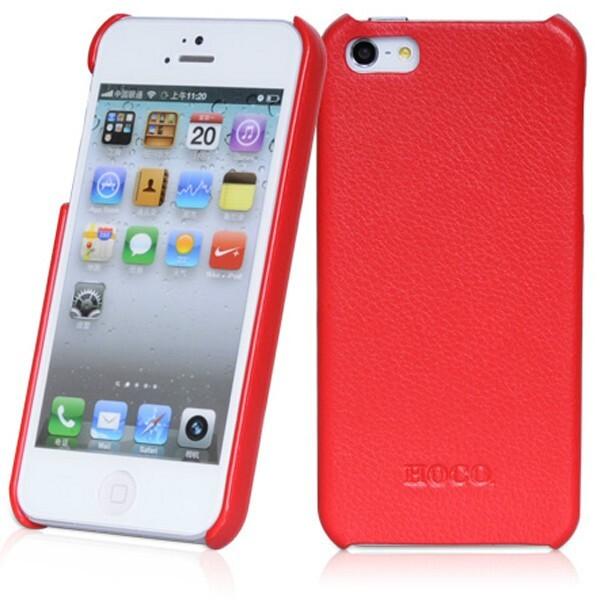 Красная кожаная накладка HOCO Fashion для iPhone 5/5S/SE