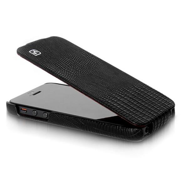 Черный кожаный флип-чехол HOCO Lizard pattern для iPhone 5/5S/SE