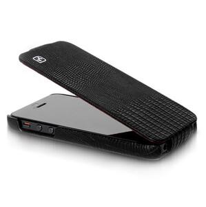 Купить Черный кожаный флип-чехол HOCO Lizard pattern для iPhone 5/5S/SE