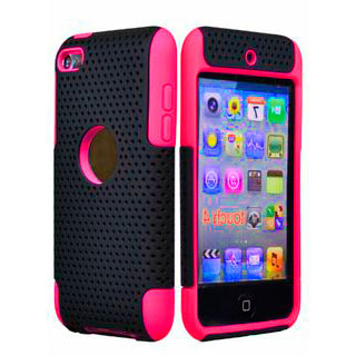 iLoungeMax Hybrid Mesh Plastice Hard With Silicone Back Case Deep Pink для iPod Touch 4G