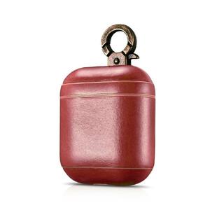 Купить Кожаный чехол iCarer Vintage Series Red с карабином для Apple AirPods