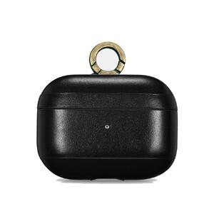 Купить Черный кожаный чехол с карабином для Apple AirPods Pro iCarer Vintage