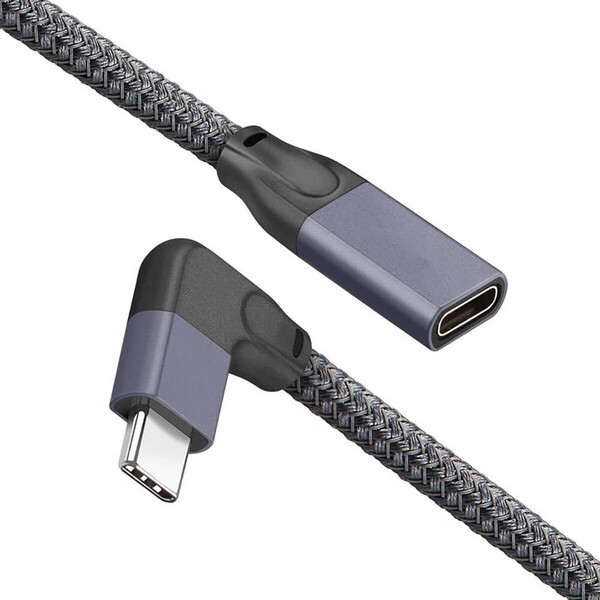 Угловой удлинительный кабель iLoungeMax USB Type-C USB-C 3.1 10Gbp/s 90° 1.5м для MacBook | iPad