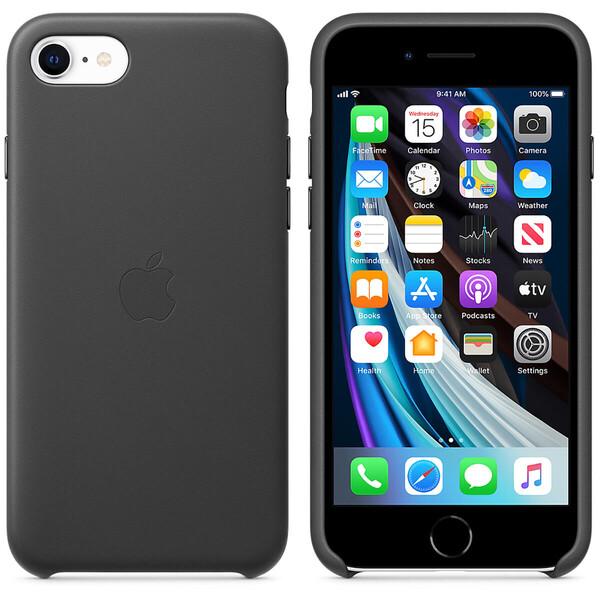 Черный кожаный чехол Apple Leather Case Black для іPhone SE 2020   7   8 (MXYM2)