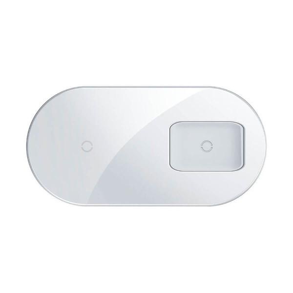 Беспроводная зарядка для iPhone   AirPods   Samsung Baseus Simple 2-in-1 Pro Edition White