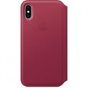 Купить Кожаный чехол-книжка Apple Leather Folio Berry (MQRX2) для iPhone X