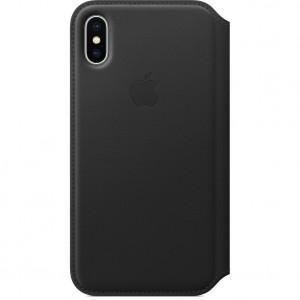Купить Кожаный чехол-книжка Apple Leather Folio Black (MQRV2) для iPhone X