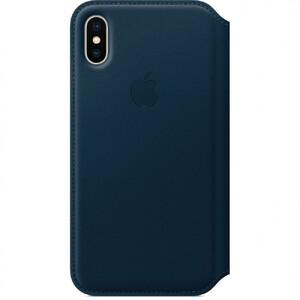 Купить Кожаный чехол-книжка Apple Leather Folio Cosmos Blue (MQRW2) для iPhone X/XS