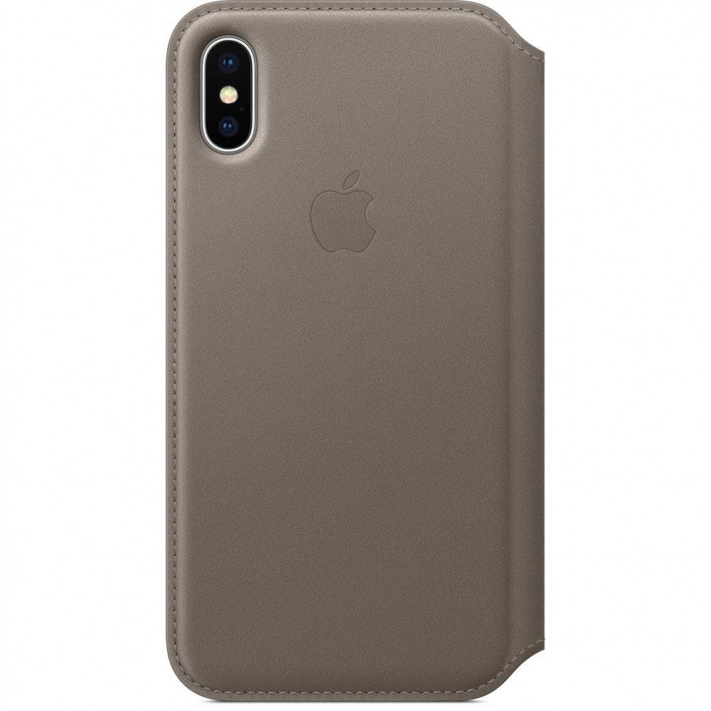 Купить Кожаный чехол-книжка Apple Leather Folio Taupe (MQRY2) для iPhone X   XS