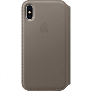Купить Кожаный чехол-книжка Apple Leather Folio Taupe (MQRY2) для iPhone X/XS