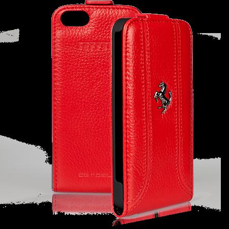 Красный кожаный чехол Ferrari для iPhone 5/5S/SE