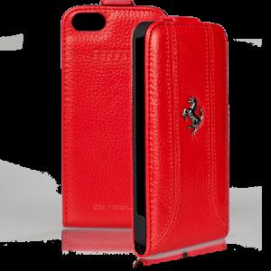 Купить Красный кожаный чехол Ferrari для iPhone 5/5S/SE
