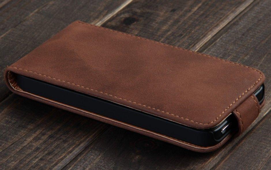 Коричневый кожаный флип-чехол VividFlip для iPhone 5/5S/SE