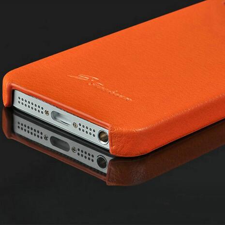 Оранжевая кожаная накладка HOCO Fashion для iPhone 5/5S/SE