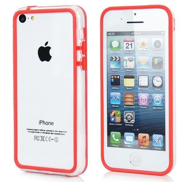 Прозрачный красный бампер для iPhone 5C
