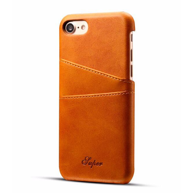 Кожаный чехол с отделениями для карт Super Brown для iPhone 7