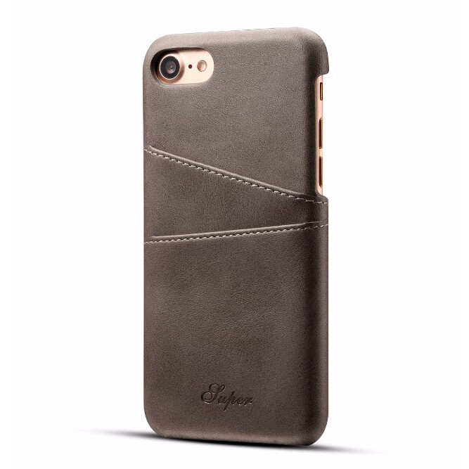 Кожаный чехол с отделениями для карт Super Gray для iPhone 7