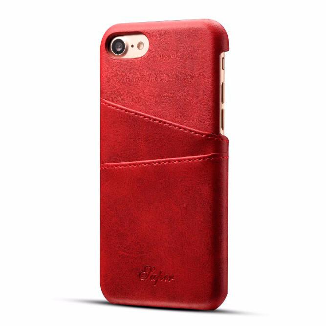 Кожаный чехол с отделениями для карт Super Red для iPhone 7/8