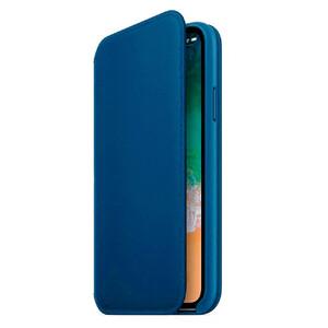 Купить Кожаный чехол-книжка Leather Folio OEM Cosmos Blue для iPhone X/XS