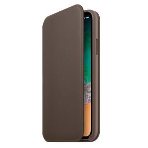 Купить Кожаный чехол-книжка Leather Folio OEM Dark Gray для iPhone X/XS