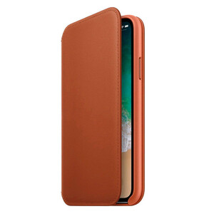 Купить Кожаный чехол-книжка Leather Folio OEM Saddle Brown для iPhone X/XS