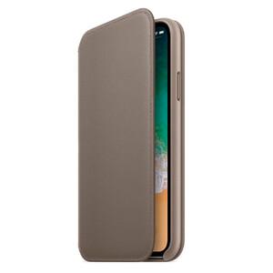 Купить Кожаный чехол-книжка Leather Folio OEM Taupe для iPhone X/XS
