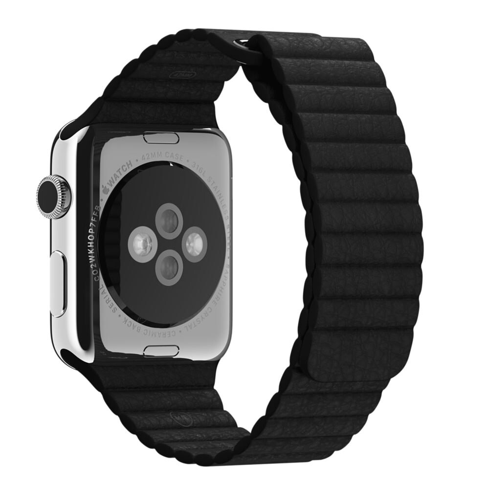 Ремешок Apple 42mm Black Leather Loop (MJY52/MQV62) Medium для Apple Watch Series 1/2/3