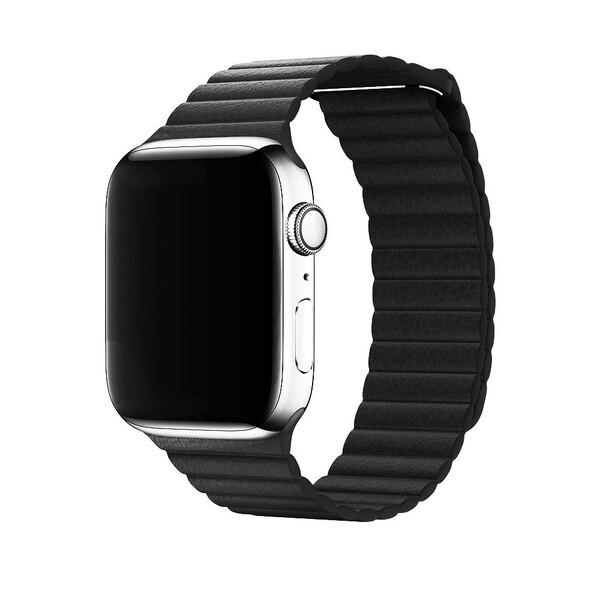 Ремешок iLoungeMax Leather Loop Black для Apple Watch 44mm   42mm SE   6   5   4   3   2   1 OEM