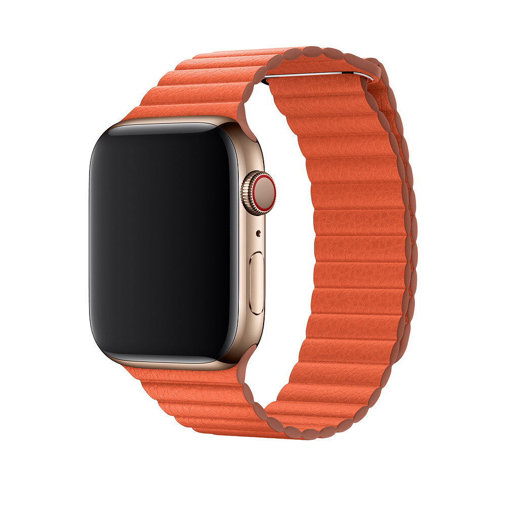 Ремешок oneLounge Leather Loop Orange для Apple Watch 44mm/42mm Series 1/2/3/4 (Лучшая копия)