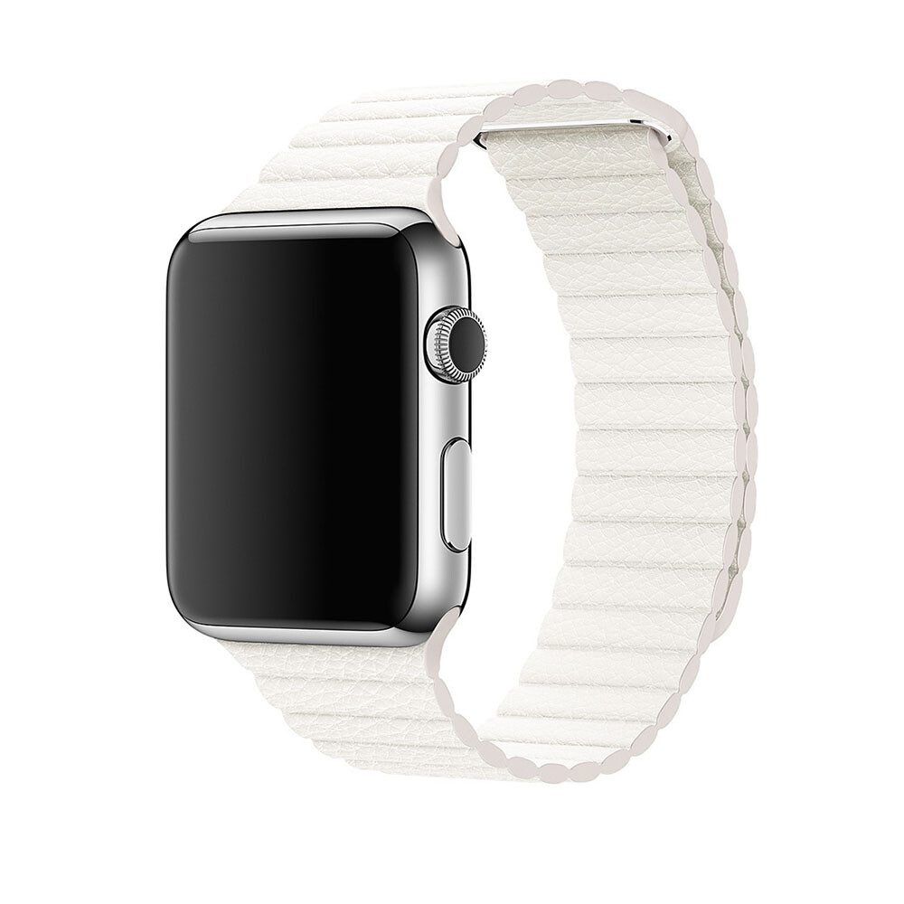 Ремешок oneLounge Leather Loop White для Apple Watch 44mm | 42mm SE | 6 | 5 | 4 | 3 | 2 | 1 OEM